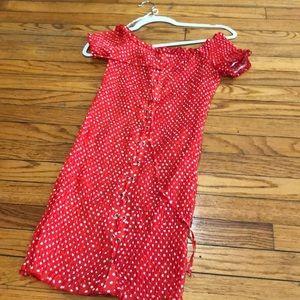 LF polka dot red dress runs big.